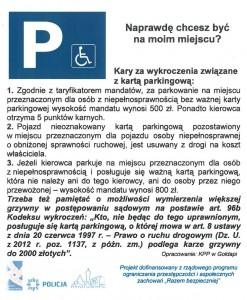 ulotka dotycząca parkowania na miejscu dla osób niepełnosprawnych 2015